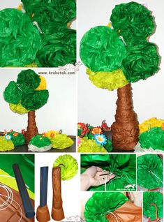 children activities, more than 2000 coloring pages Tissue Paper Trees, Tissue Paper Crafts, Fun Activities For Kids, Craft Activities, Ben E Holly, Crafts To Make, Crafts For Kids, Poppy Drawing, Spring Tree