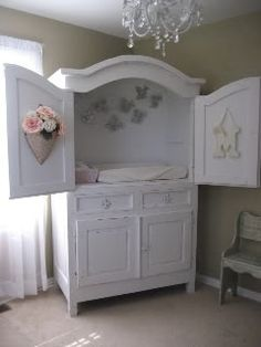TV armoire repurposed into diaper changer. Super cool idea with built in storage underneath! I am so going to do this with next baby! I already have the armoire! Repurposed Furniture, Diy Furniture, Repurposed Items, Children Furniture, Girls Furniture, Nursery Furniture, Antique Furniture, Upcycled Crafts, Furniture Storage