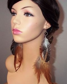 Brown Feather  Earrings Long Feather Earrings by FoxyAllureJewelry,