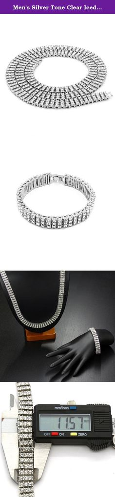 """Men's Silver Tone Clear Iced Out 30"""" 3 Row Simulated Diamond Hip-hop Chain & Bracelet. Attention: Please keep in mind that this item is NOT real Silver."""