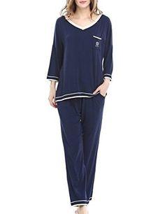Women's Sleepwear Short Sleeves Pajama Set With Long Pants by NORA TWIPS(XS-XL)