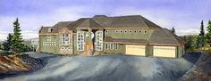 Anchorage Home by Mark McDermott Watercolor ~ 6 x 15