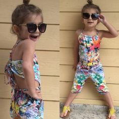 Macacão chic estampado Girls Summer Outfits, Kids Outfits, Drawstring Bag Tutorials, Kids Store, My Baby Girl, Baby Dress, Kids Fashion, Rompers, Casual