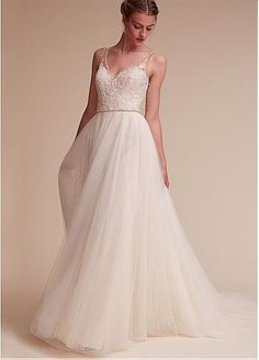 Fabulous Tulle & Satin V-Neck A-Line Wedding Dresses With Lace Appliques