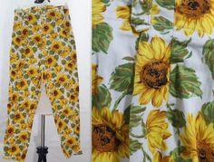 Vintage Sunflower Print Floral High Waist Pants by BinksyVintage, $16.00