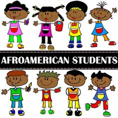 Afroamerican School Children Cliparts Set for Personal and