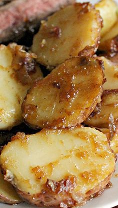 Famous Caramel Potatoes...these red skin potatoes are delicious when added to a caramelized mixture of butter, red onions and brown sugar.