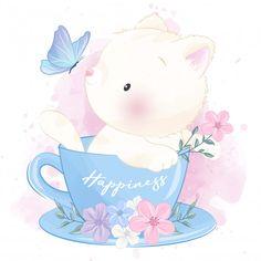 Cute little kitty inside the cup playing. Arte Do Kawaii, Kawaii Art, Panda Wallpapers, Cute Cartoon Wallpapers, Baby Animal Drawings, Cute Drawings, Cute Images, Cute Pictures, Cute Panda Wallpaper