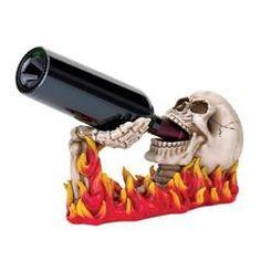 Flames Skull Wine Holder