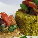 PIstachio crusted tofu with saffron quinoa pilaf.this won vegan recipe of the year in Links to both the crusted tofu and the accompanying saffron quinoa pilaf are on this page. Foods With Gluten, Vegan Foods, Vegan Dishes, Rice Dishes, Entree Recipes, Raw Food Recipes, Healthy Recipes, Recipes Dinner, Healthy Food