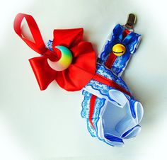 Navy Blue /& Red Adult Pacifier Clip