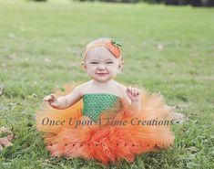 Little Pumpkin Tutu Dress - Newborn 3 6 9 12 Months ... Halloween Birthday, Photo Prop, Dress Up, Costume, Gift - Baby Girl Orange & Green on Etsy, $24.99