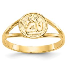 ApplesofGold.com - 14K Gold Renaissance Angel Ring Jewelry $175.00 Or Rose, Rose Gold, Angel Ring, Yellow Rings, Christian Jewelry, Gold Polish, Types Of Rings, Band Rings, Fine Jewelry