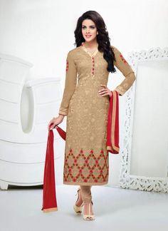 Beige Color Designer Salwar Kameez - Rs. 2200.00