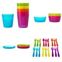 Kids Dinner Set 36 Pc Plate Bowl Spoon Fork Lunch Plastic Multi Colour Children
