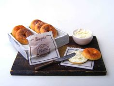 Bagels with cream cheese - Miniature in 1:12 by Erzsébet Bodzás, IGMA Artisan | eBay