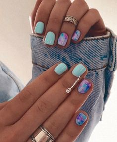 Cute Gel Nails, Get Nails, How To Do Nails, Pretty Nails, Manicure Nail Designs, Gel Nail Art Designs, Nail Manicure, Simple Acrylic Nails, Pastel Nails