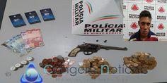 Homem é preso pela PM, após ter assaltado padaria em Campos Gerais-MG