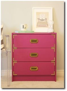Pink Campaign Dresser Painted Furniture, Painted Funiture Paint Ideas, Hollywood Regency Decorating, Bold Paint, Glossy Paint Colors,