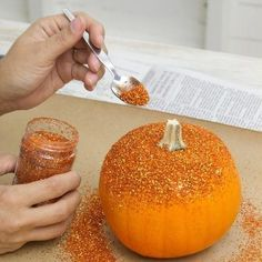 Want to skip the carving this year or just want to make some fun inside pumpkins? Try glitter! Glitter Paint For Walls, Daisy Art, Halloween Art, Halloween Treats, Fake Pumpkins, Glitter Decorations, Glitter Hair Spray, Caramel Apples, Hairspray