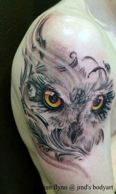 Owl Tattoo makes me think of my little niece Jodi she love owls she had a friend who got one across his back in memory of her