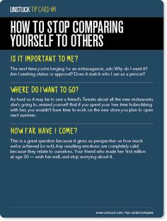 How to stop comparing yourself to others - Unstuck's Best Advice of 2013