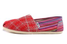 Women Canvas Red Rainbow Canvas Classics Toms Shoe