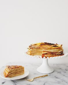 CREPE CAKE WITH SALTED CARAMEL + MASCARPONE + CINNAMON PEAR PUREE - The Kitchy Kitchen | Pinned to Nutrition Stripped | Morning #nutritionstripped