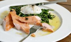 Tea smoked salmon with poached egg and brown butter sauce