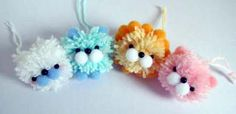 Pom-pom animals a forkful of fun: Whip up some fuzzy friends with a fork and hang them up