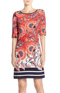 Free shipping and returns on Eliza J Mixed Print Jersey Shift Dress (Regular & Petite) at Nordstrom.com. A harmonious medley of poppy flowers and bold stripes enlivens a classically tailored shift dress crafted from smooth, stretchy jersey.