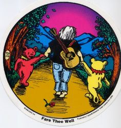 I love this sticker it is one I had to have   Fare Thee Well Jerry.....I had this patch on my purse all through college