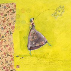 """Gaëlle Boissonnard square card (14 cm) """"La fille au chapeau bleu"""""""