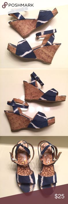 Tie dye blue and white heel wedges size 9 Blue and white the dye heels wedges. These have been worn a few times and there is some natural wear on them but definitely still have life left in them. Tags were not completely taken off. Women's size 9 UNIONBAY Shoes Wedges