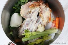 Good guidelines for homemade chicken broth from a Rotisserie carcass. Homemade chicken broth from leftover Rotisserie chicken carcass. (Just add celery, carrots, onion and spices! Chicken Carcass Recipe, Make Chicken Broth, Chicken Broth Recipes, Soup Recipes, Dinner Recipes, Cooking Recipes, Chicken Stock From Carcass, Chicken Soup, Healthy Cooking