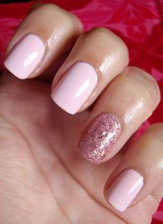 Headintheclouds: china glaze material girl & avon pastel pink nails in Pastel Pink Nails, Pink Gel Nails, Light Pink Nails, Glitter Manicure, Shellac Nails, Fun Nails, Pink Light, Pink Glitter, Pink Sparkle Nails
