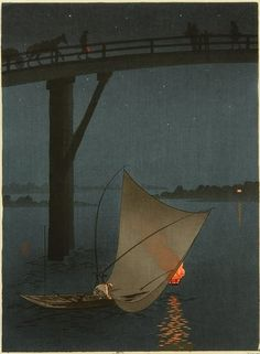 wasbella102:    Fishing Boat - Night Scene Series: Yoshimune Arai