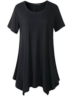 Fensace Womens Loose Fit Swing Tunic Tops Flattering Flowy Comfy Summer T Shirt XLarge Black * Check this awesome product by going to the link at the image.Note:It is affiliate link to Amazon.