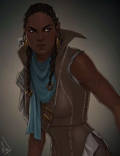 """evillyte: """" Meet Xesheth V'dar, the protagonist of my sci-fi/fantasy novel (not yet finished) Dawnbringer as painted by the amazingly talented @cocotingo! """""""