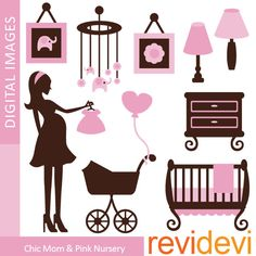 Digital clip art.. Chic Mom and Pink Nursery Clipart 07364.. commercial use. $4.95, via Etsy.