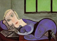 Reclining woman reading by Pablo Picasso, Oil painting reproductions
