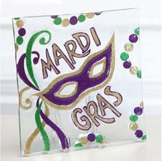 Mardi Gras Glass Platter