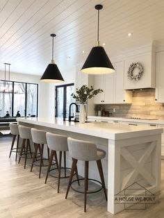 Home Remodeling Ceilings It was total coincidence that our recessed lighting fit so perfectly in line with the shiplap ceiling but it's one of those random little… - Kitchen Interior, Kitchen Inspirations, Home Decor Kitchen, House Design, Kitchen Remodel, Kitchen Decor, Home Kitchens, Modern Farmhouse Kitchens, Kitchen Renovation