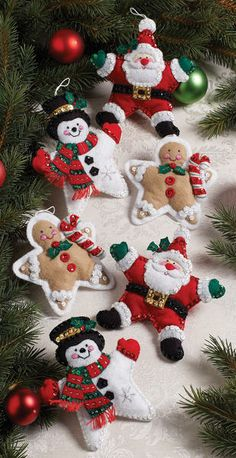 "Christmas Stars Ornaments Felt Applique Kit-5""X5"" Set Of 6"