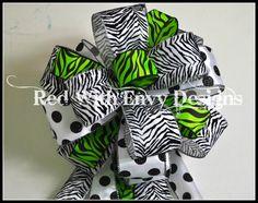 Bow Topper, Wreath Bow, Treetop Bow, Christmas Tree Topper, Animal Print, Zebra Bow, Zebra