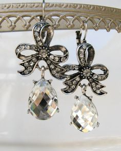 A personal favorite from my Etsy shop https://www.etsy.com/listing/105838287/vintage-earrings-bow-and-crystal-drop