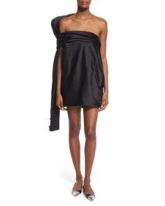 Strapless Silk Dress w/Oversized Back Tie, Black, Women's, Size: 12 - Monse