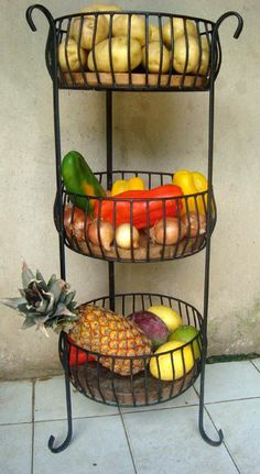 15 Brilliant Fresh Produce Storing & Organizing Ideas To Remove Clutter Tier Basket Iron Furniture, Steel Furniture, Furniture Dolly, Kitchen Organization, Kitchen Storage, Kitchen Dining, Kitchen Decor, Produce Storage, Wrought Iron Decor