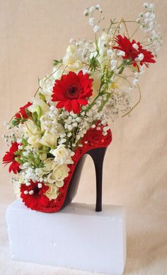 lovely flower shoe design,for all occasions,by ruthie