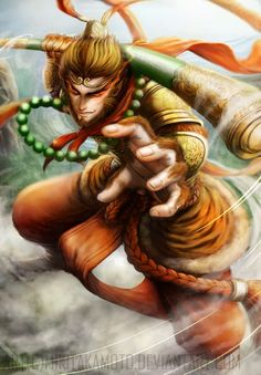 Monkey King - Sun Wukong by MikiTakamoto Fantasy Character Design, Character Design Inspiration, Character Art, Monkey Art, Monkey King, Fantasy Races, Fantasy Warrior, Buddha Tattoos, King Tattoos
